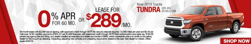 New 2019 Toyota Tundra SR5 4x2 Double Cab | 0% APR For 60 Months OR Lease For $289/Mo