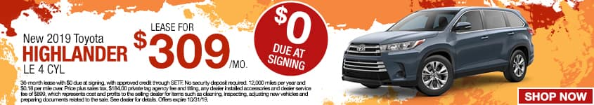 New 2019 Toyota Highlander LE 4 CYL | Lease For $309/Mo | $00 Due At Signing