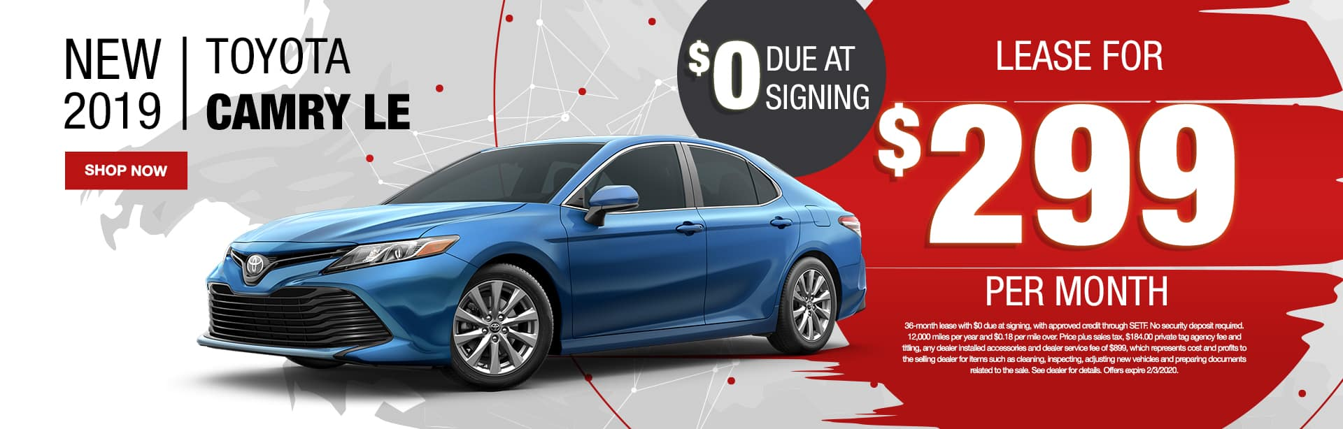 New 2019 Toyota Camry LE | $0 Due At Signing | Lease For $299 Per Month