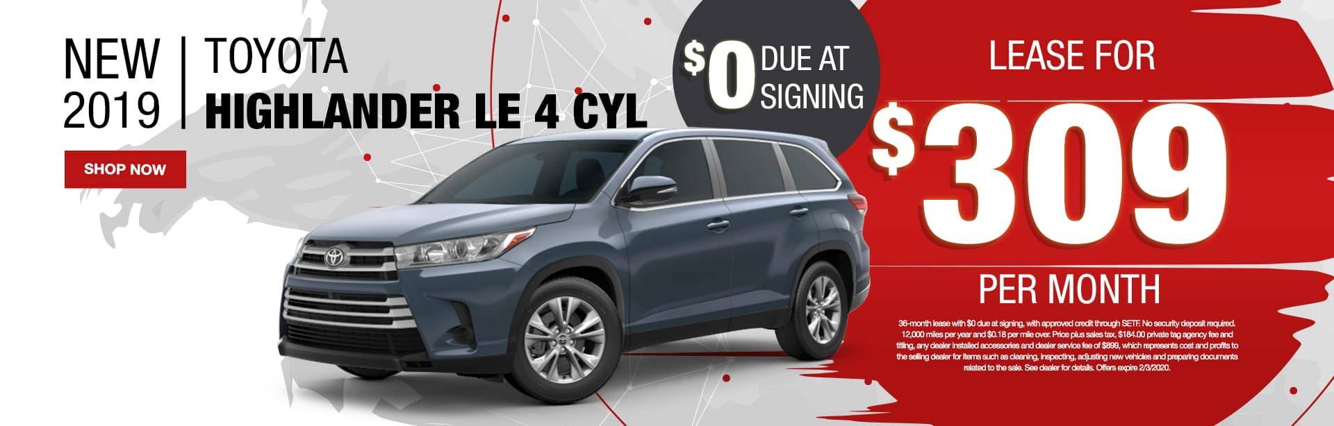 New 2019 Toyota Highlander LE 4 CYL | $0 Due At Signing | Lease For $309 Per Month