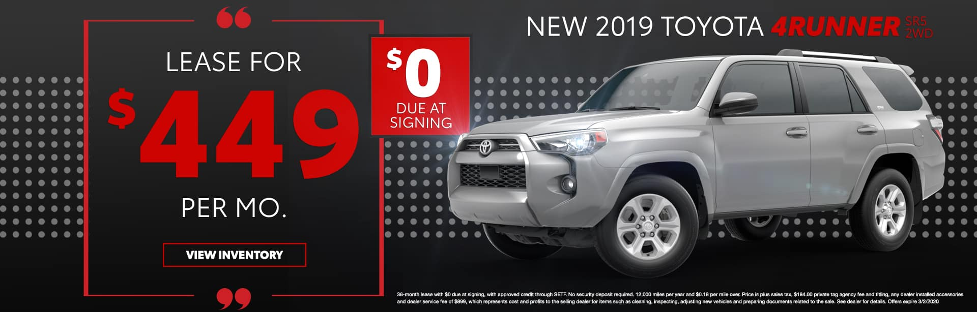 New 2019 Toyota 4Runner SR5 2WD   Lease For $449 Per Mo.   $0 Due At Signing