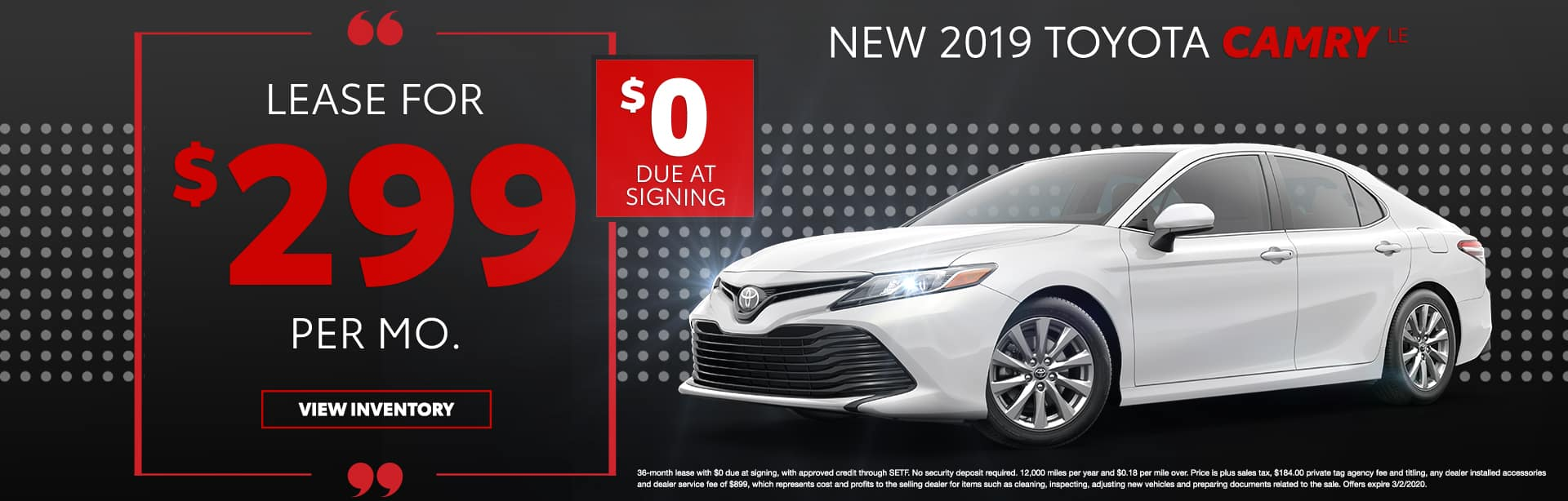 New 2019 Toyota Camry LE   Lease For $299 Per Mo   $0 Due At Signing