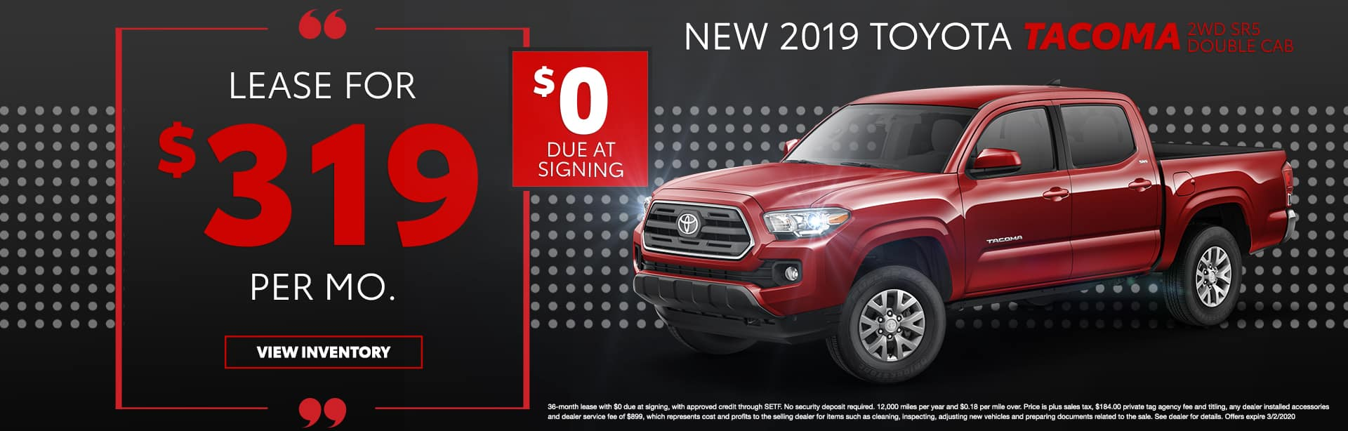 New 2019 Toyota Tacoma 2WD SR5 Double Cab   Lease For $319 Per Mo   $0 Due At Signing