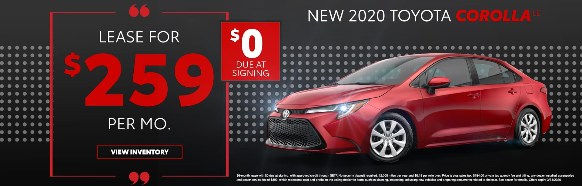 New 2020 Toyota Corolla LE | Lease For $259 Per Mo | $0 Due At Signing