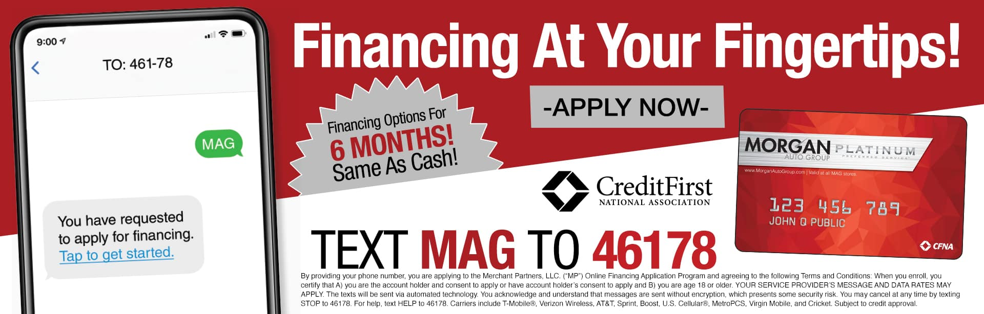Financing At Your Fingertips! Financing Options For 6 Months! Same As Cash!
