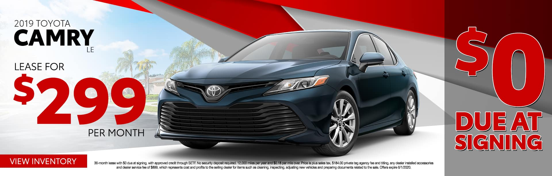 2019 Toyota Camry LE | Lease For $299 Per Month $0 Due At Signing