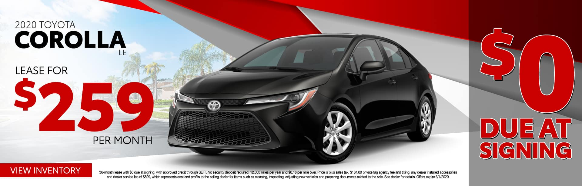 2020 Toyota Corolla LE | Lease For $259 Per Month $0 Due At Signing