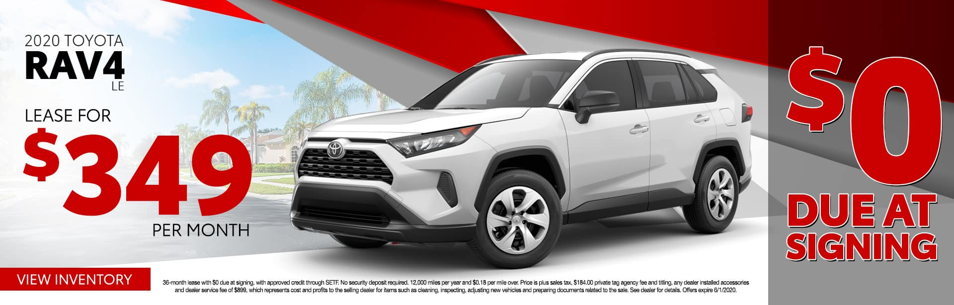 2020 Toyota RAV4 LE | Lease For $349 Per Month $0 Due At Signing