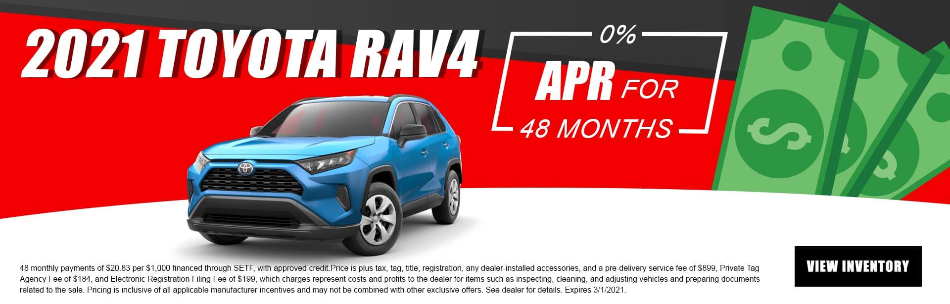 2021 Toyota RAV4   0% APR For 48 Months