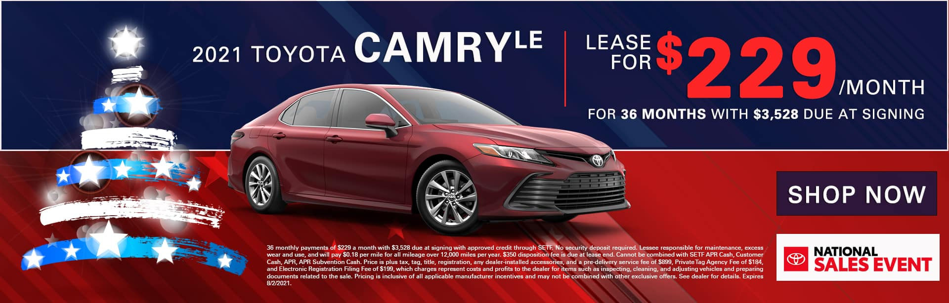 2021 Toyota Camry LE | Lease For $229/Month for 36 Months with $3,528 Due At Signing