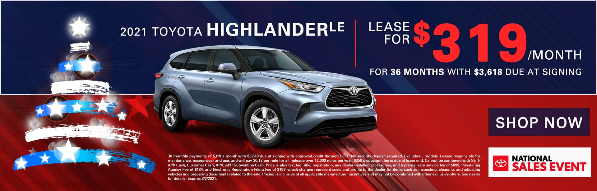2021 Toyota Highlander LE | Lease For $319/Month for 36 Months with $3,618 Due At Signing
