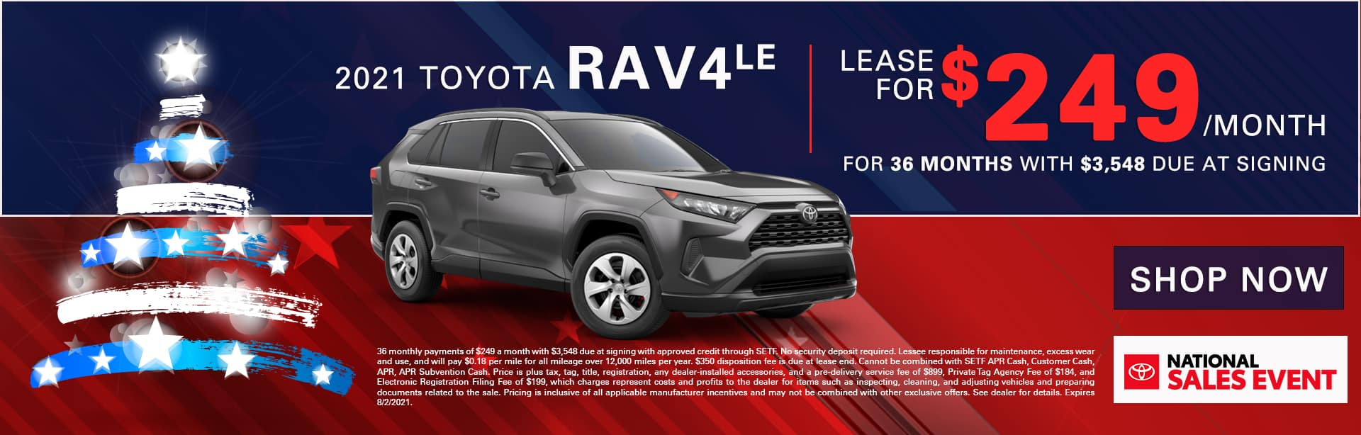 2021 Toyota RAV4 LE | Lease For $249/Month for 36 Months with $3,548 Due At Signing