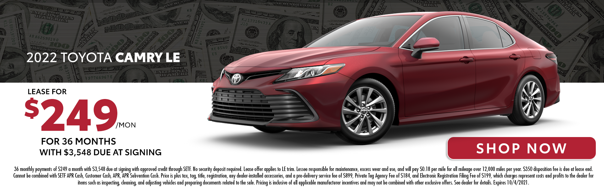 2022 Toyota Camry LE | Lease For $249/Month for 36 Months with $3,548 Due At Signing