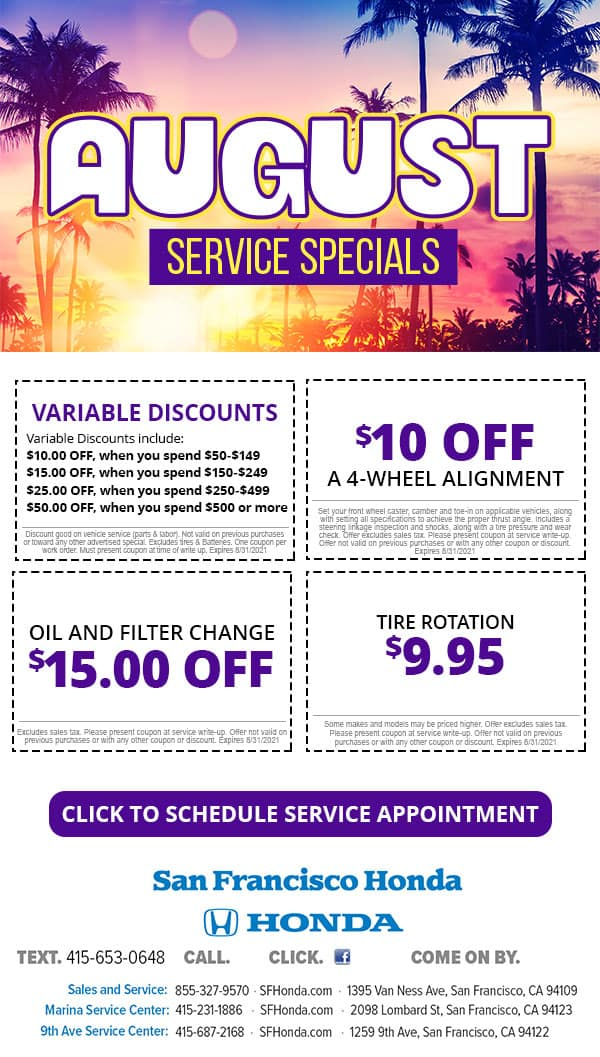 August Service Specials