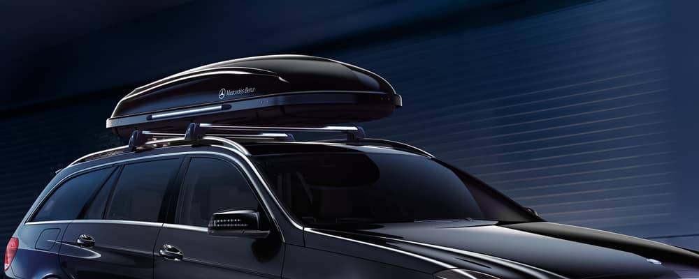 Close up of roof rack on Mercedes-Benz SUV