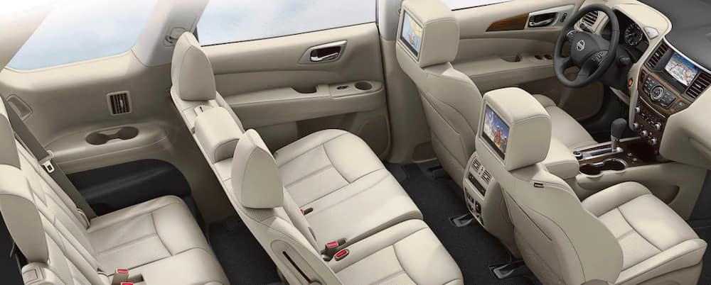 2019 Nissan Armada interior with third row seating and entertainment center