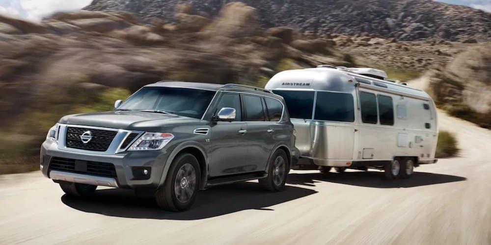 Grey 2019 Nissan Armada Towing Trailer