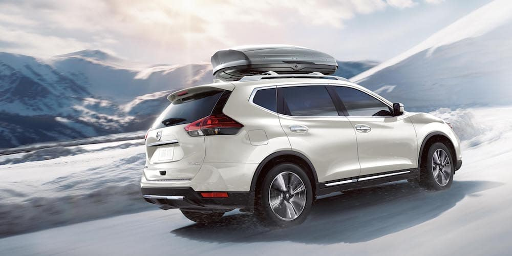 Silver 2020 Nissan Rogue on Snowy Road