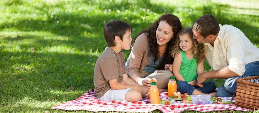 Family of four having a picnic in a park