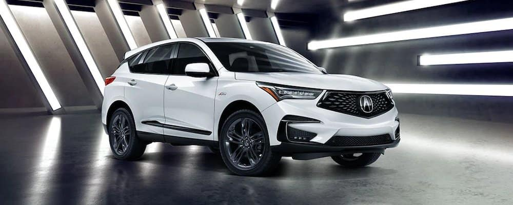 White 2020 Acura RDX in Showroom