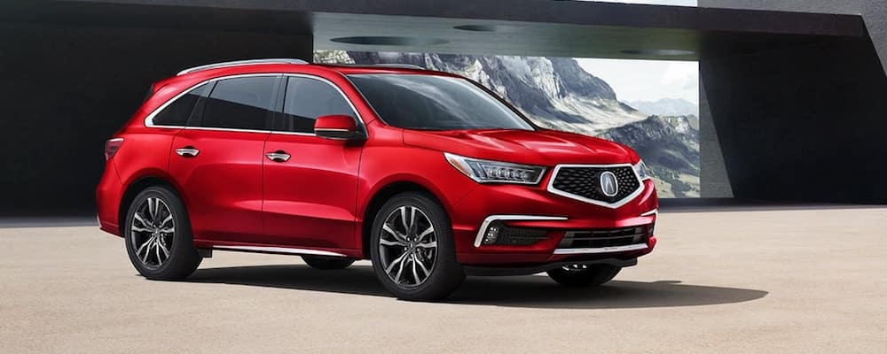 Red 2020 Acura MDX Parked Outside