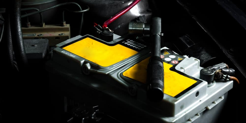 Car Battery With Tools
