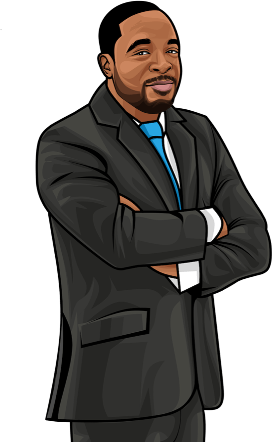 Lester Brown Avatar wearing a suit with arms crossed