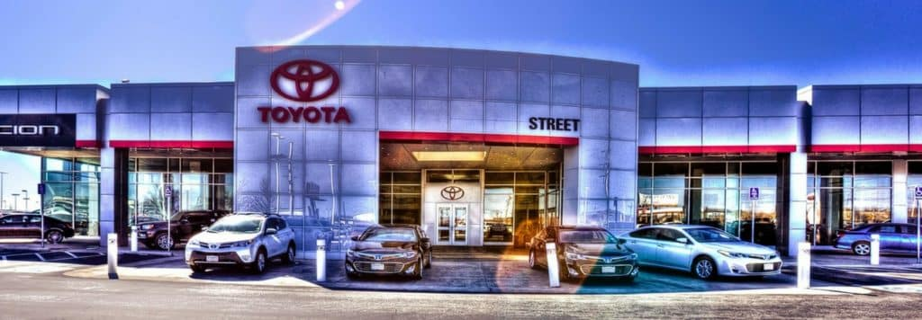 The outside of the Street Toyota dealership