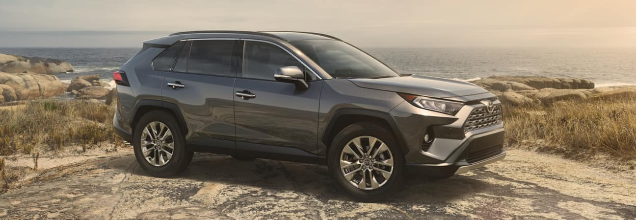 A 2019 RAV4 parked in front of a beach