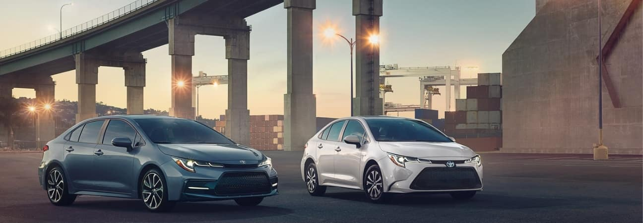 2020 Toyota Corolla parked under bridge