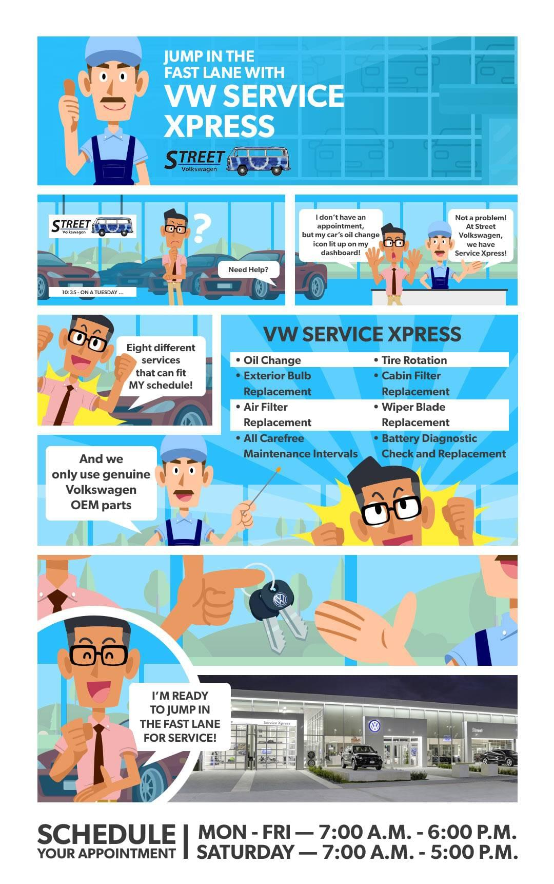 Infographic explaining VW Service Xpress