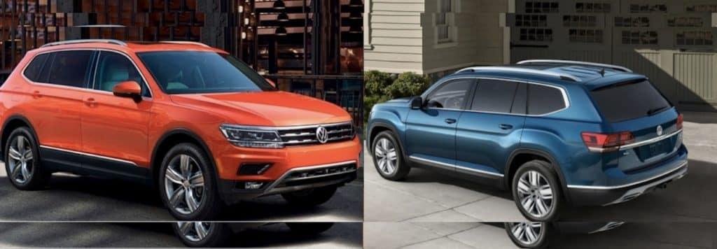 Left: the 2018 Volkswagen Tiguan. Right: the 2018 Volkswagen Atlas.