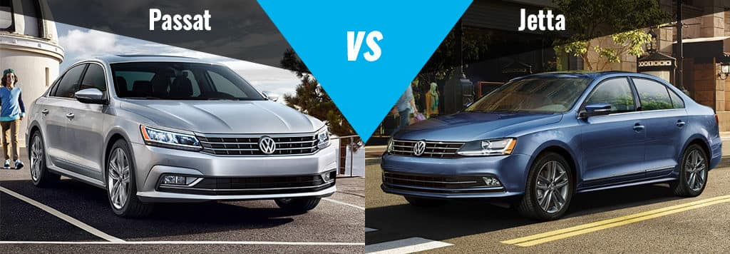 2018 Volkswagen Jetta (right) and the 2018 Volkswagen Passat (left)