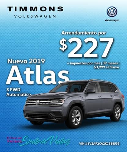 Nuevo 2019 Volkswagen Atlas S FWD Automático