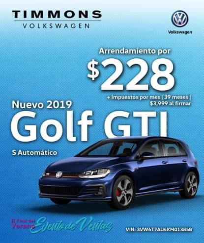 Nuevo 2019 Volkswagen Golf GTI S Automático
