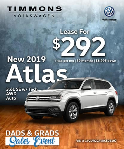 New 2019 Volkswagen Atlas 3.6L SE with Tech AWD