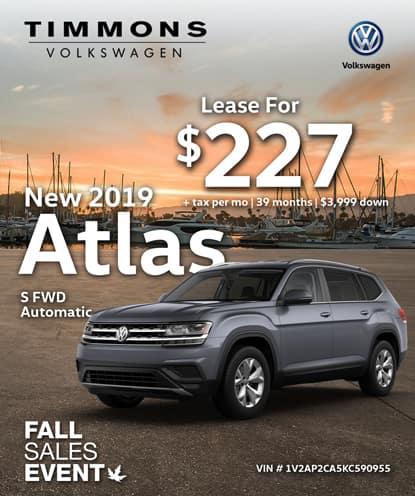 New 2019 Volkswagen Atlas S FWD Automatic