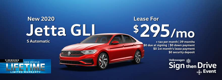 Special Lease offer on a 2020 Volkswagen Jetta GLI at Timmons Long Beach