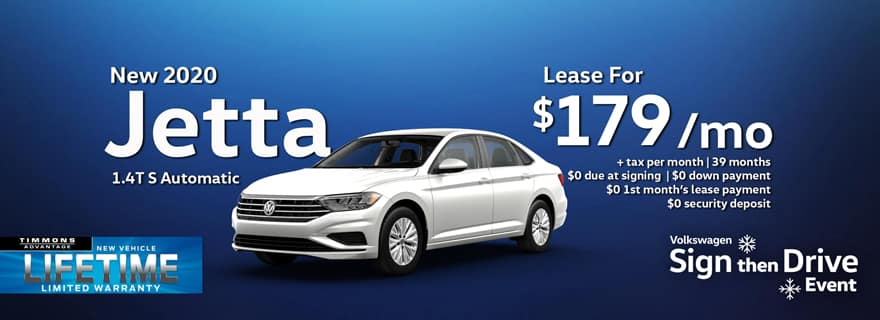 Special Lease offer on 2020 Volkswagen Jetta at Timmons Long Beach