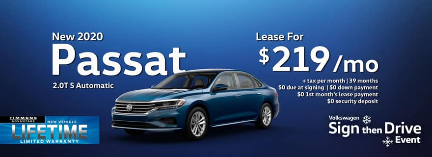 Special Holiday Lease offer on a 2020 Volkswagen Passat at Timmons Long Beach