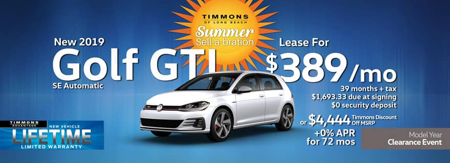 Special Lease offer on a 2019 Volkswagen Golf GTI at Timmons Long Beach