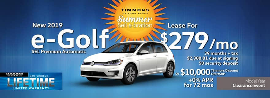Special Lease offer on a New 2019 Volkswagen e-Golf SEL Premium at Timmons Long Beach