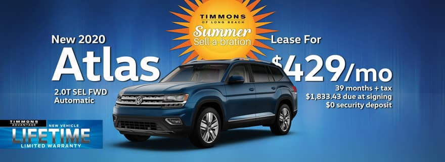 Special lease offer on 2020 Atlas at Timmons Volkswagen Long Beach