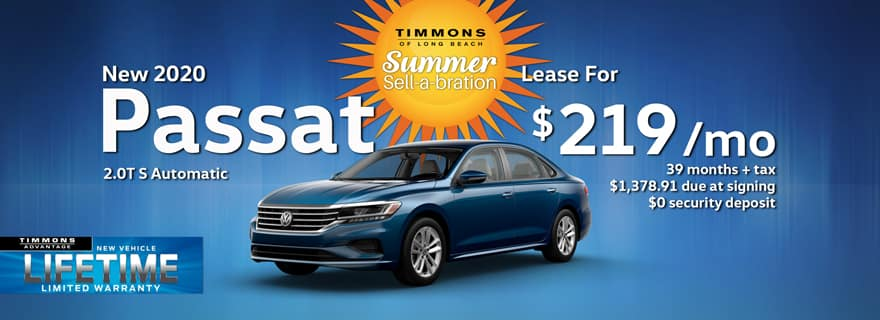 Special Summer Lease offer on a 2020 Volkswagen Passat at Timmons Long Beach