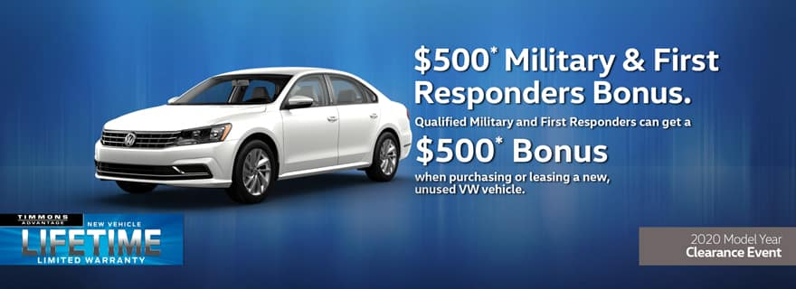Special Offer for Military and First Responders Offer at Timmons Volkswagen Long Beach
