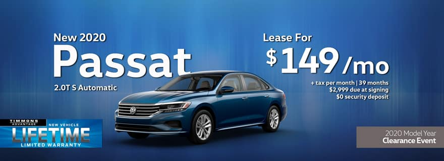 Special Lease offer on a 2020 Volkswagen Passat at Timmons Long Beach