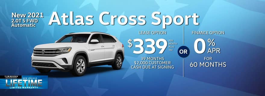 Special lease offer on 2021 Atlas Cross Sport at Timmons Volkswagen Long Beach