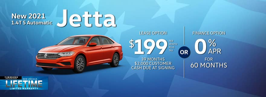 Special lease offer on 2021 Jetta at Timmons Volkswagen on Long Beach