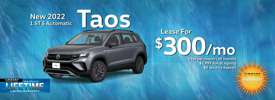 Special lease offer on 2022 Taos at Timmons Volkswagen Long Beach