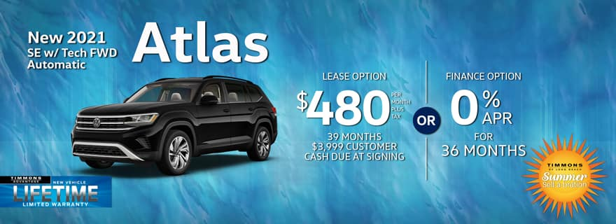Special lease offer on 2021 Atlas at Timmons Volkswagen Long Beach